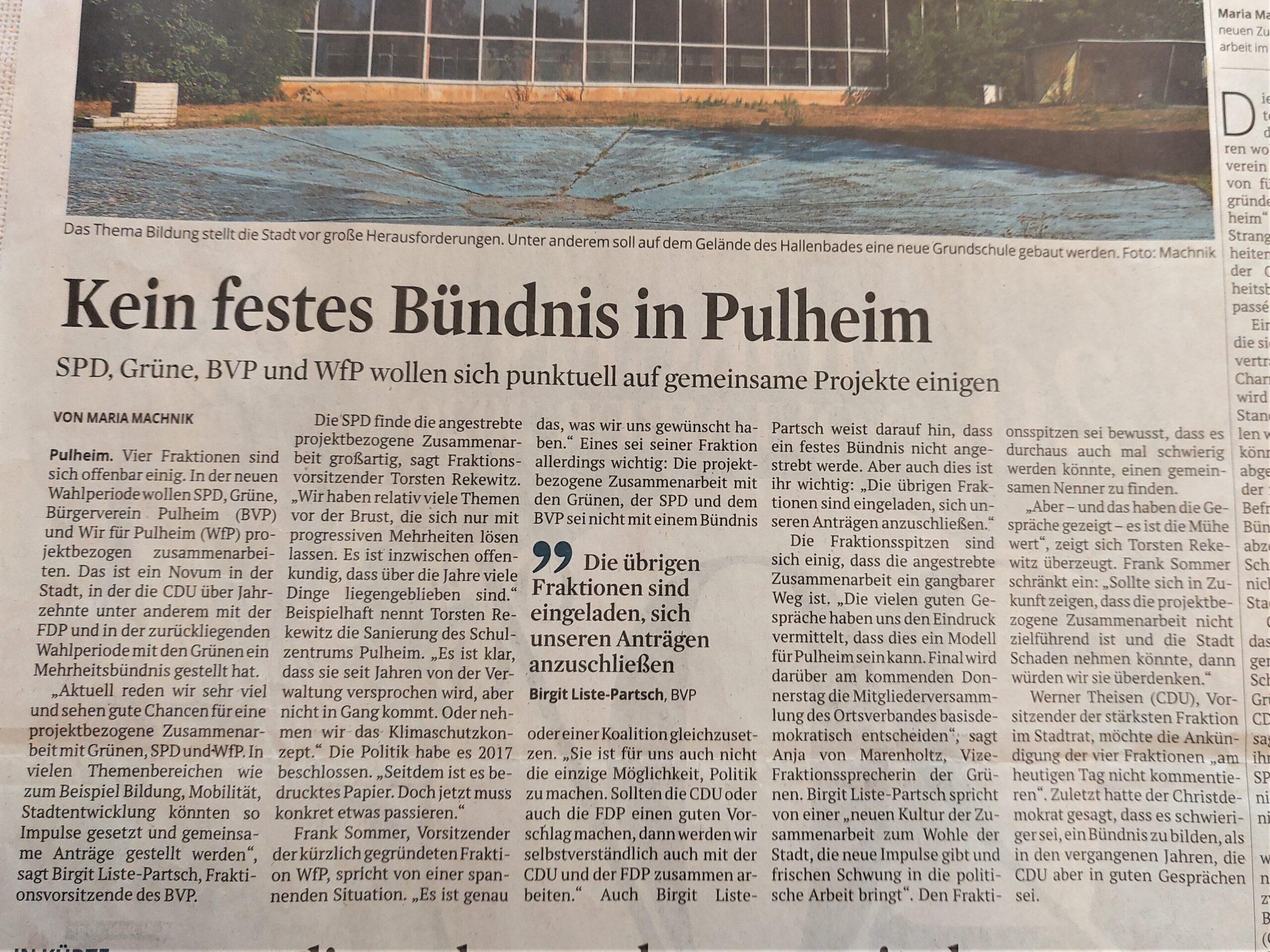 """Fraktion """"Wir für Pulheim"""" strebt punktuelle Zusammenarbeit an"""